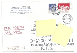 2 Timbres Roumanie Sur Enveloppe University Of Bucarest - 1948-.... Républiques