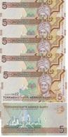 Turkmenistan - 5 Pcs X 5 Manat 2012 UNC Lemberg-Zp - Turkménistan