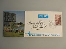 HOTEL PENSION INN REST HOUSE AVIA BROCHURE LOD AIRPORT AVIATION TEL AVIV VINTAGE OLD ISRAEL PALESTINE - Hotel Labels