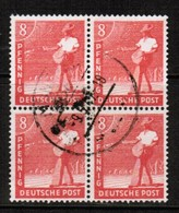 GERMANY  Scott # 559  VF USED BLOCK Of 4 (Stamp Scan # 473) - American,British And Russian Zone