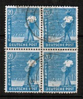 GERMANY  Scott # 564  VF USED BLOCK Of 4 (Stamp Scan # 473) - American,British And Russian Zone