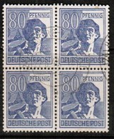 GERMANY  Scott # 572  VF USED BLOCK Of 4 (Stamp Scan # 473) - American,British And Russian Zone