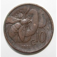 ITALIE - KM 60 - 10 CENTESIMI - 1927 - VICTOR EMMANUEL III - TTB - 1861-1946 : Regno