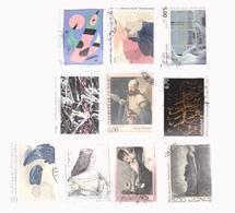 ART PAINTING FRANCE 1985-1996, LOT 10 STAMPS USED - Oblitérés
