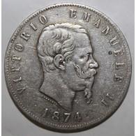 ITALIE - KM 8.3 - 5 LIRE 1874 M BN - VICTOR EMMANUEL II - TB+ - 1861-1878 : Vittoro Emanuele II