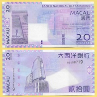 Macau Macao 20 Patacas P-81 2013 BNU Banco Nacional Ultramarino UNC Banknote - Macao