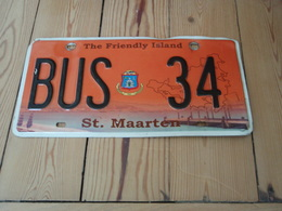 Plaque De Bus The Friendly Island St-Maarten BUS 34 . - Plaques D'immatriculation