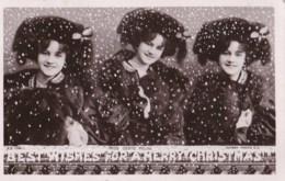 AM26 Actress Miss Gertie Millar - Fur Coat, Snow, Christmas Greetings, RPPC - Theatre