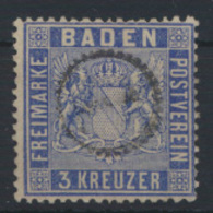 Altdeutschland Baden 10 B Uhrradstempel Sign. Krause Kat.-Wert 30,00 - Baden