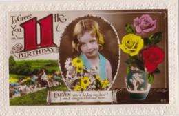 AN05 Birthday Greeting - Girl's 11th Birthday - Birthday