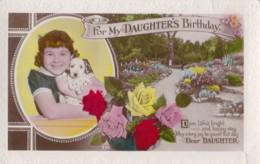 AN05 Birthday Greeting - Daughter's Birthday, Girl With Puppy Dog - RPPC - Birthday