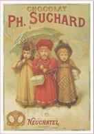Publicité Sur Carte Postale - Chocolat Ph. Suchard - 3 Fillettes Suchard (Neuchâtel-Suisse) - Publicité