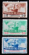 1935 Equateur Ecuador Yt PA36, PA37, PA38 . Caravel Of Columbus And Airplane. Neufs Traces Charnières - Equateur