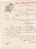 Allemagne Lettre Illustrée 14/12/1894 C A L KRAUSE Import Vin Bordeaux  Cognac  BERLIN - Allemagne