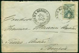 V6754 SAN MARINO 1909 Lettera Affrancata Con Stemma 15 C., 30.12.09 Per Perugia, Annullo Di Arrivo, Buone Condizioni - Saint-Marin