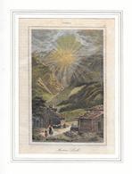 1838 MARTINS LOCH BEI ELM GLARUS → Original Colorierter, Alter Stahlstich 142 X 88 Mm  ►RAR◄ - Stiche & Gravuren