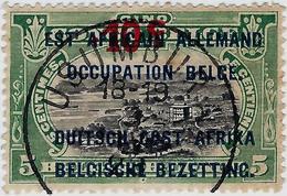 """CONGO BELGE - RUANDA-URUNDI - TIMBRE BELLE OBLITÉRATION -  SURCHARGÉ 10c/CINQ  """"EST AFRICAIN ALLEMAND OCCUPATION BELGE"""" - 1916-22: Oblitérés"""