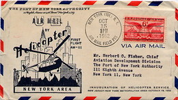 USA - The Port Of New York - AIR MAIL BY HELICOPTER - FIRST FLIGHT AM-III -  OCT 15 1952 - Elicotteri