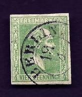 LETI- ETATS ALLEMAGNE- PRUSSE- TIMBRE N° 9 VERT 4 P- 1858 - FOND UNI- OBLITÉRÉ- 2 SCANS - Prusse
