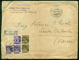 V7607 ITALIA 1944 R.S.I. Manoscritti Raccomandati Da Venezia 23.10.44 A Sesto Calende,affrancata Con Monumenti Distrutti - Marcophilia