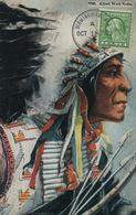Chef Indien Chief Wolf Robe Cheyenne  Timbrée Birmingham Alabama Non Voyagé Profil Fleche Coiffure - Indiens De L'Amerique Du Nord