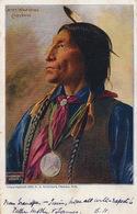 Chef Indien Chief Wolf Robe   Cheyenne  Colorisée Curious Medal. Medaille Curieuse - Indiens De L'Amerique Du Nord