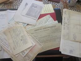 LETRE A....CERTIFICAT IMMATRICULATION-RELEVÉ PRATICIEN-FICHES ETAT CIVIL+AUTRES VOIR SCANS-Militaria Document Militaire - Documents