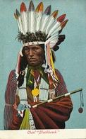 """Chef Indien Chief  """" Blackhawk """"  Colorisée Parure De Plumes - Indiens De L'Amerique Du Nord"""
