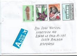 B403/ Belgien - Brief, Bunt Frankiert Mit 4 Marken 2019 Nach Spanien - Briefe U. Dokumente
