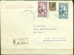 V8132 ITALIA 1955 REPUBBLICA Lettera Raccomandata Affrancata Con Vespucci Serie Completa + Siracusana 20 L., Da Firenze - 6. 1946-.. Repubblica