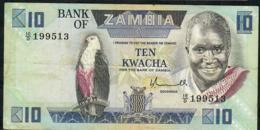 ZAMBIA P26a 10 KWACHA 1980 Signature 5 VF NO P.h. - Zambie