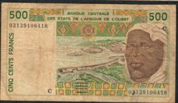 W.A.S. BURKINA FASO P310Cl 500 FRANCS (20)02    F-aVF - Burkina Faso