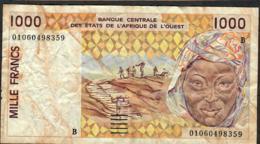 W.A.S. BENIN  P211Bl 500 FRANCS (20)01    FINE NO P.h. - Benin