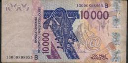 W.A.S. BENIN  P218Bm 10.000 FRANCS (20)13   AVF 4 P.h. - Benin