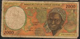 C.A.S. CAMEROUN P202Ee 2000 FRANCS (19)98  VG-F - États D'Afrique Centrale