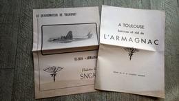 Lot 2 Brochures Avion Armagnac Quadrimoteur De Transport SNCASE Toulouse Berceau Aviation - Avion
