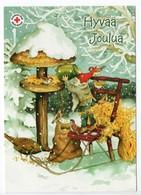 Postal Stationery RED CROSS  Finland - CHRISTMAS POSTCARD - Artist: INGE LÖÖK - GNOME & BIRDS - Postage Paid - Finland