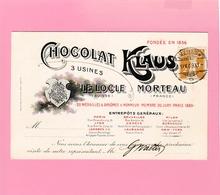 Th 14 Carte Illustrée Pour Le Représentant Des Chocolat Klaus Le Locle - Morteau Yverdon 11.9.09 - Alimentation