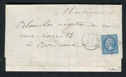 Rare Lettre De Castelfranc ( Lot ) Pour Bordeaux ( 1865 ) - Cachet PC Du GC 749 - 1862 Napoléon III