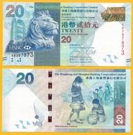 Hong Kong 20 Dollars P-212c 2013 HSBC  UNC - Hong Kong