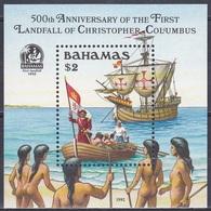 Bahamas 1992 Geschichte History Entdeckungen Discovery Amerika Kolumbus Columbus Schiffe Ships Seefahrt, Bl. 68 ** - Bahamas (1973-...)
