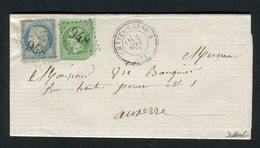 Rare Lettre De Châtel-Censoir ( Septembre 1871 ) Avec Les N° 37 & 20 - Cachet GC 948 - 1870 Siege Of Paris