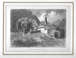 1883 KIRCHE AUF DEM BERGLI BEI GLARUS → Holzstich 185 X 128 Mm - Estampes & Gravures
