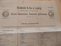 Tarif Prix 1884 Goedecke Leipzig  Distillateurs Huiles Essences Absinthe Médailles 2 Pages - Allemagne