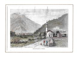 1886 SCHLACHTKAPELLE ZU ARBEDO → Colorierter Stahlstich 168 X 110 Mm  ►RAR◄ - Prints & Engravings