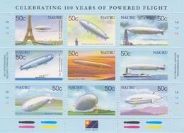 Nauru SG 570-578 2003 100 Years Of Powered Flight, Sheetlet, Mint Never Hinged - Nauru