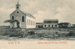 Aruba A.H. Iglesia Sagrado Corazon Savoneta  Undivided Back To  Martinique - Aruba