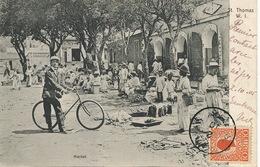 Danish West Indies St Thomas Market . P. Used 1905 To Paris. Texte Raciste : Premier Contact Avec Les Nègres. Racism - Virgin Islands, US
