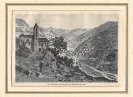 1886 DIE KEHREN AN DER BIASCHINA VON SAN PELLEGRINO AUS → Holzstich J.Weber 115 X 115 Mm - Estampes & Gravures