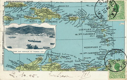 Danish West Indies St Thomas Map Of Carribean Island Used To Paris One Tear - Vierges (Iles), Amér.